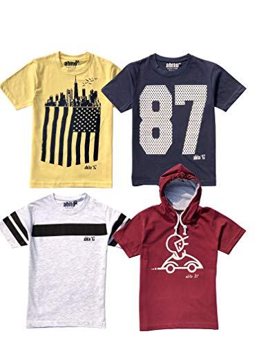 "ABITO Boys Cotton t Shirts (Ecru Lemon Navy Maroon,13-14 Years-Chest 36"")"