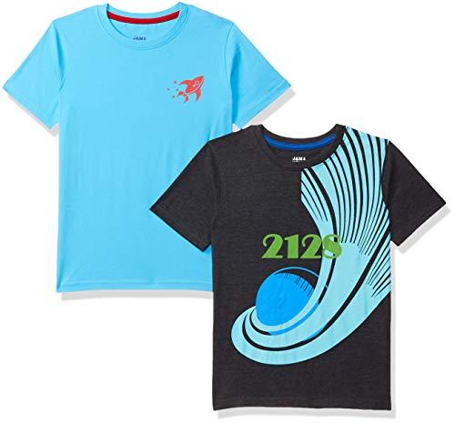 Amazon Brand - Jam & Honey Boy's Starred Regular fit T-Shirt (Pack of 2) (AW19YBPO2802_Multicolor 3 7-8 Years)