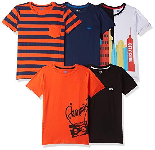 Amazon Brand - Jam & Honey Boy's Tribal Regular fit Cotton T-Shirt (SS19YBP05TEE161_Multicolor 12 8-9 Years)