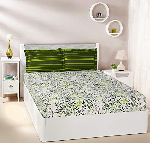 Amazon Brand - Solimo Fresh Ferns 144 TC 100% Cotton Double Bedsheet with 2 Pillow Covers, Green