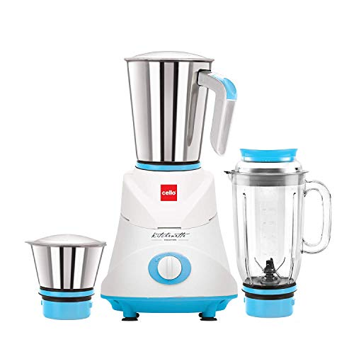 Cello Grind N Mix Ertiga 500-Watt Juicer Mixer Grinder with 3 Jars (Blue)