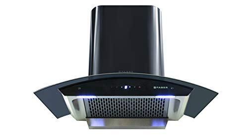 Faber 90 cm 1200 m³/hr Auto-Clean curved glass Kitchen Chimney (Hood Orient TC BK 90, Filterless technology, Touch Control, Black)