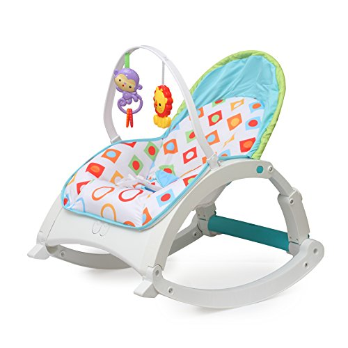 Fiddle Diddle Baby Bouncer Cum Rocker with Vibration Function, Height Adjustment, Calming Music and 2 Toys (Multi White)