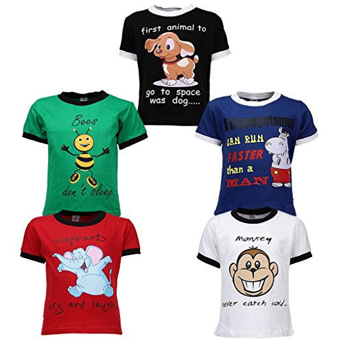 GOODWAY Gkidz Infants Pack of 5 Multicolor Printed Cotton T Shirts (JB5PCKDYK-1-18-24M_18-24M_Multicolor)
