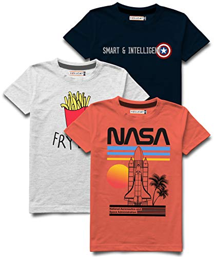 HELLCAT Boy's Cotton Printed Round Neck T-shirt (Multicolour, 13-14 Years) - Combo Pack of 3
