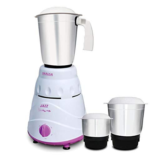 Inalsa Jazz Mixer Grinder, 550W, 3 Jars (White/ Purple)