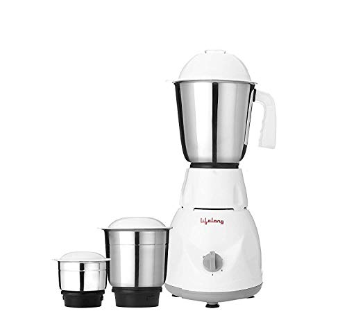 Lifelong Power Pro 500-Watt Mixer Grinder with 3 Jars (White/Grey)