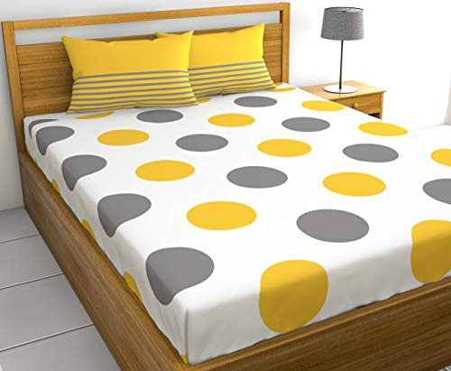 Loreto – A Quality Linen Brand 144 TC 100% Cotton Double Bedsheet with 2 Pillow Covers - Polka, Yellow & Grey
