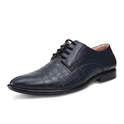 LOUIS STITCH Men's Formal Croco Style Derby Shoes || Federal Blue Handcrafted Leather Shoes for Men || Super Silent Soft and Strong