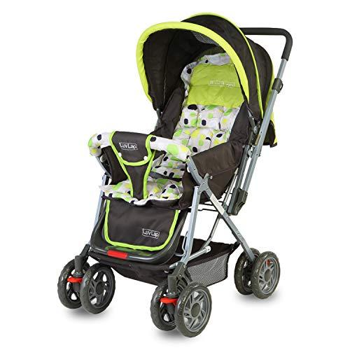 LuvLap Sunshine Stroller/Pram, with Mosquito net, for Newborn Baby/Kids, 0-3 Years (Light Green)