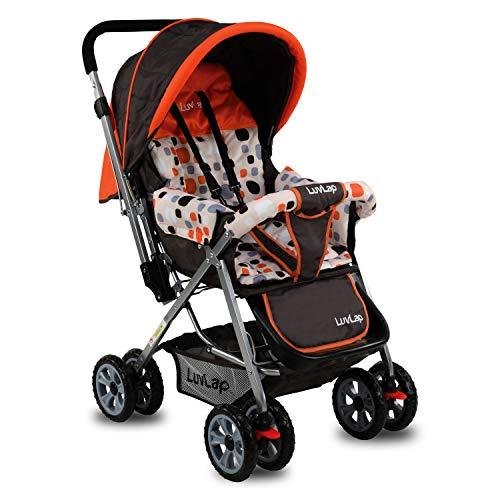 LuvLap Sunshine Stroller/Pram, with Mosquito net, for Newborn Baby/Kids, 0-3 Years (Orange)