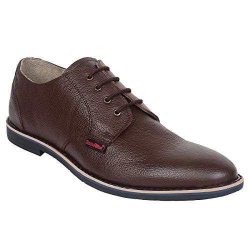 SeeandWear Formal Shoes for Mens. Brown Pure Leather Pointed with lace up Shoe.