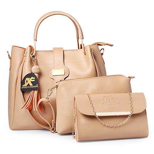 Speed X Fashion Women's Leather Handbag(Cream)