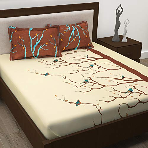 Story@Home Tree Branch and Bird Print Design 100% Super-Soft Cotton Double Bedsheet with 2 Pillow Covers - Nature, Brown