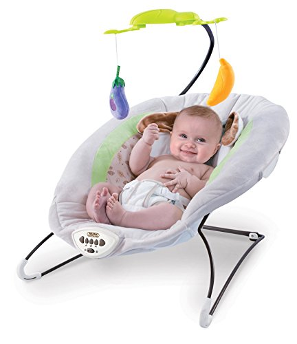 Toyshine Infant to Toddler Rocker Chair with Calming Vibrations, Metal Frame, Off White