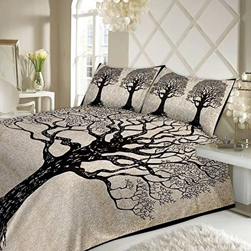 Vihaan Fab India Pure Cotton Rajasthani Abstract Tree Print Double Bedsheet with 2 Pillow Covers,Size-(90 x 108 Inch) (Black White)
