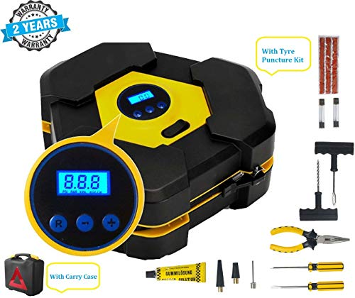 Voroly Heavy Duty Automatically Shut Off Car Air Compressor Tyre Inflators Pump Digital with Puncture Repair Kit and Carry Case